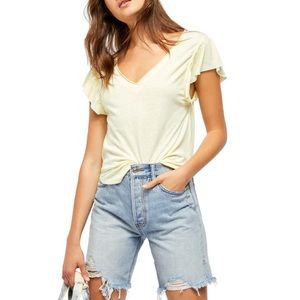 FREE PEOPLE We The Free Effortless Shirt Lemon Ice